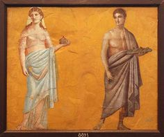 Fresco of figures carrying offerings. Ancient Greek Art, Ancient Rome, Roman History, Art History, Ancient Roman Houses, Byzantine Army, Rome Painting, Fresco, Theatre Architecture