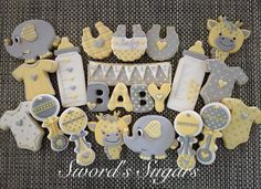 Yellow and Gray Baby Shower Cookies Sword's Sugars