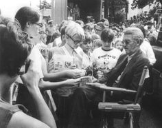 """Jimmy Stewart signing autographs during the filming of """"Fools' Parade"""" (1971) THIS PICTURE MAKES ME SO HAPPY."""