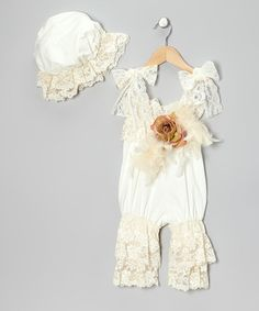 Take a look at this Cream Lace Shoulder-Tie Romper - Infant & Toddler by Elena Collection on #zulily today!