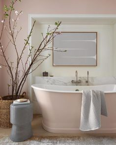 """Cheviot Products Inc on Instagram: """"Now this is cool! @marieflaniganinteriors painted this bathtub @farrowandball Pink Ground to match the walls, weaving the color story…"""""""