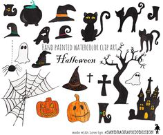 """New to SandraGraphicDesign on Etsy: 50% OFF - Halloween clipart: """"HALLOWEEN FIGURES"""" with spooky black white and orange Halloween clipart (5164) (2.00 USD)"""