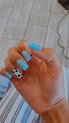 Blue Acrylic Nails, Acrylic Nails Coffin Short, Simple Acrylic Nails, Square Acrylic Nails, Halloween Acrylic Nails, Cute Gel Nails, Pretty Nails, Western Nails, Western Rings