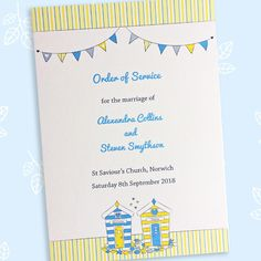 Beach Hut wedding order of service or events - The Leaf Press Civil Ceremony, Wedding Ceremony, Wedding Day, Wedding Order Of Service, Thank You Messages, Wedding Stationery, Booklet, Wedding Colors, Color Schemes