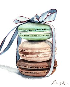 Giclee print of original watercolor painting of three pastel colored Laduree French macarons in light green, brown, and ivory, stacked and tied up with a baby blue satin bow with burgundy trim. Pistachio, chocolate, and vanilla flavored macarons are the perfect afternoon treat with tea. Dress up your walls with a pastel assortment of French macarons! Makes a perfect addition to a nursery or a little girls room too! Archival inks on Strathmore 400 watercolor paper - stiff body, slight…