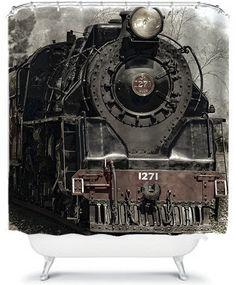 Shower Curtain Antique Locomotive Train by xOnceUponADesignx