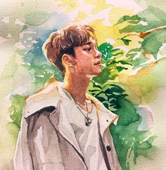 Chen <credits to owner> Galaxy Drawings, Kpop Drawings, Art Drawings, Kpop Fanart, Amazing Drawings, Amazing Art, Exo Anime, Exo Fan Art, Fanarts Anime