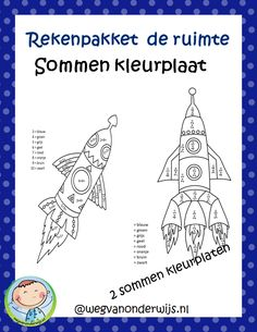 Thema de ruimte – Sommenkleurplaten Bible Crafts, Diy For Kids, Homeschool, Classroom, Space, Astronomy, Astronauts, Geography, Planets