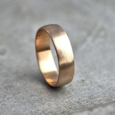 Wide Mens Gold Wedding Band, Recycled 14k Yellow Gold 6mm Brushed Low Dome Mans Gold Wedding Ring - Made in Your Size