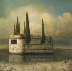 Martin Wittfooth Isle of the Dead 2010 30 x 30 huile sur panneau