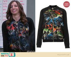 Gina's black multi colored palm print bomber jacket on Brooklyn Nine-Nine.  Outfit Details: http://wornontv.net/38157/ #Brooklyn99