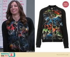 Gina's black multi colored palm print bomber jacket on Brooklyn Nine-Nine.  Outfit Details: http://wornontv.net/38157/ #Brooklyn99