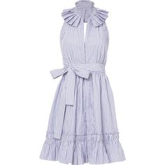 Briley Stripe Mini Halter Dress (22,010 DOP) ❤ liked on Polyvore featuring dresses, haljine, pattern, mini dress, v neck mini dress, blue and white striped dress, ruffle hem dress and striped dress