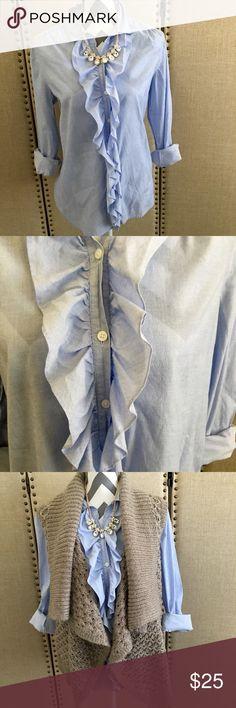 "LOFT chambray ruffled button up shirt LOFT button up chambray top with ruffled details size medium 98%cotton 2% spandex 24"" from shoulder to hem. LOFT Tops"