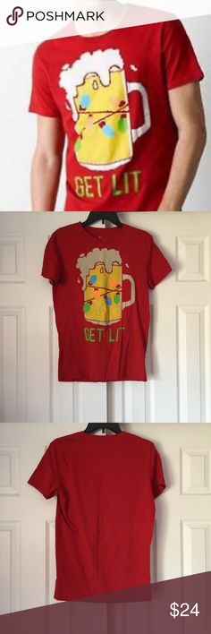 Men's American Eagle GET LIT Christmas Tee Men's American Eagle GET LIT Christmas Tee in men's size small. Classic fit, short sleeves. Red shirt with beer mug, Christmas string lights, GET LIT graphic. Lightly worn! [C83] American Eagle Outfitters Shirts Tees - Short Sleeve