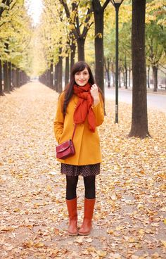 Mustard coat, Orange scarf and boots, floral dress - True Warm Autumn Colors