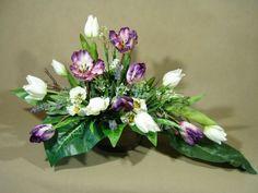 TULIPANY fiolet i białe 1913 stroik na grób + BUKIET KOMPLET Kompozycje kwiatowe Marko604