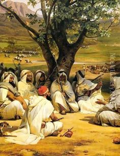 Horace Vernet Arab Chieftains in Council (The Negotiator) hand painted oil painting reproduction on canvas by artist Claude Joseph Vernet, Empire Ottoman, Arabian Art, Islamic Paintings, Oil Painting Reproductions, Classical Art, Moorish, Islamic Art, Great Artists