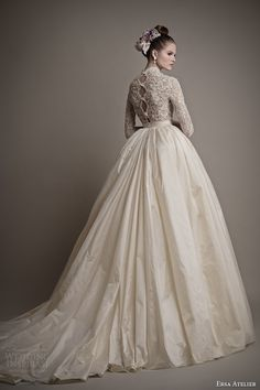 ersa atelier wedding dresses 2015 charlotte ball gown lace bodice sleeves back train