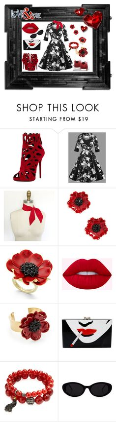 """""""Rockabilly Red"""" by followerofmistake ❤ liked on Polyvore featuring Giuseppe Zanotti, Linda Horn, Kate Spade, Charlotte Olympia, Suneera, contest, prints, RockStar and collab"""