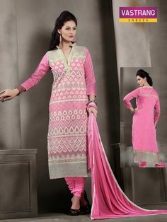 Pink embroidered salwaar kameez suit with matching dupatta