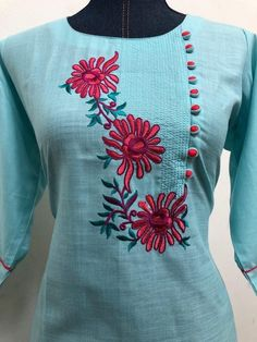 Improve How You Look With These Great Fashion Tips Embroidery Suits Punjabi, Embroidery On Kurtis, Kurti Embroidery Design, Embroidery Neck Designs, Embroidery On Clothes, Hand Embroidery Stitches, Embroidery Dress, Embroidery Patterns, Aari Embroidery