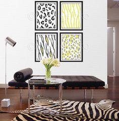 Yellow and Gray Modern Animals Art Print Set  Set of by pixelgecko, $59.60