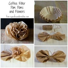 How to Make Pom Poms and Flowers from Coffee Filters from cupcakesandcrinoline.com rustic, wedding flowers, pom poms with tutorial