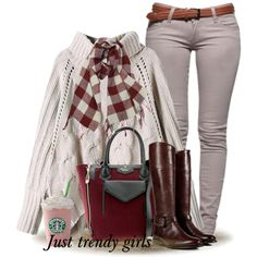 Grey pants, white sweater, plaid scarf, brown boots, burgundy bag