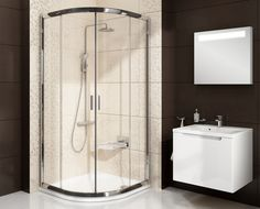 Blix Sabina quadrant short sliding shower enclosure - RAVAK a. Quadrant Shower Enclosures, Shower Doors, Double Vanity, Bathtub, Mirror, Bathroom, Furniture, Home Decor, Standing Bath