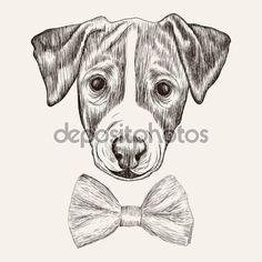 Télécharger - Croquis Jack Russell Terrier Dog avec noeud papillon. Illustr dessinés à la main — Illustration #66259677