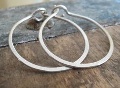 1 inch Sterling Silver Hoops  Handmade. Handforged by jNicLoft, $16.50
