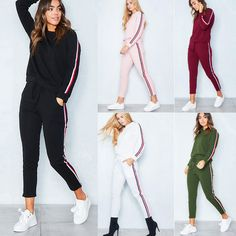 Women Tracksuit Hoodie Sweatshirt Pants Sets Sport Wear Striped Casual Suit in Clothing, Shoes & Accessories, Women's Clothing, Sweats & Hoodies Traje Casual, Casual Suit, Sport Casual, Casual Wear, Suits For Women, Clothes For Women, Sexy Women, Lady, Tracksuit Set