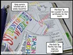 Teacher Plan Book: Organize with pockets and monthly divider tabs. This plan book was made on the computer using powerpoint. 4th Grade Classroom, New Classroom, Classroom Ideas, Teacher Plan Books, Primary Education, Classroom Organization, Getting Organized, Binder, About Me Blog