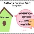 Spring themed Author's Purpose Literacy Center Sorting activity