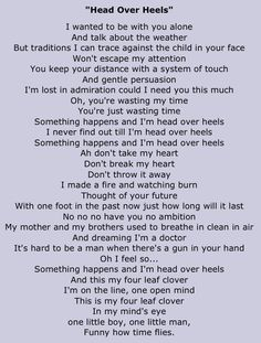 head over heels // tears for fears