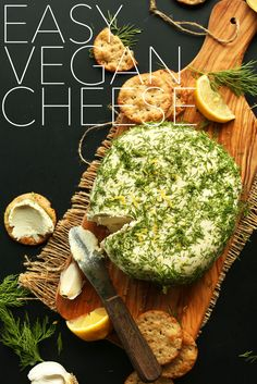 EASY VEGAN CHEESE! Just 8 ingredients, creamy, garlic and dill infused, SO delicious #vegan #glutenfree #cheese #recipe
