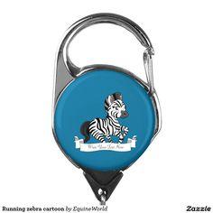 Running zebra cartoon badge holder