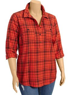 Women's Plus Plaid Flannel Pop-Over Shirts Product Image