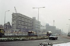Demolition of flats on the Hulme/Moss Side border, 1985 History Manchester, Manchester Street, Bolton England, Council Estate, Side Borders, New Topographics, Salford, Sense Of Place, Slums
