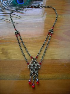 Chainmail Necklace: Bronze and Red Diamond Chainmaille with Red Glass Drops. $23.00, via Etsy.