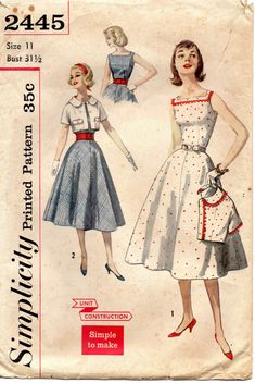 1950s Simplicity 2445 Simple to Make Square Neck Dress and Bolero Jacket Pattern Womens Vintage Sewing Pattern Size 11 Bust 31 1/2