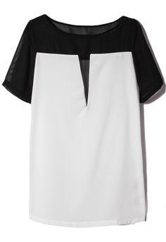 Black Contrast White Short Sleeve Chiffon H-line Dress