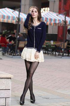 Preppy Style Dark Blue Cotton Long Sleeves Sweater