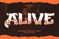 Alive - Horror Display Font #brushfont #brushtextured #casualfont Halloween Fonts, Slab Serif, Brush Font, Uppercase And Lowercase, Photoshop Illustrator, School Design, Design Bundles, Packaging Design, Horror