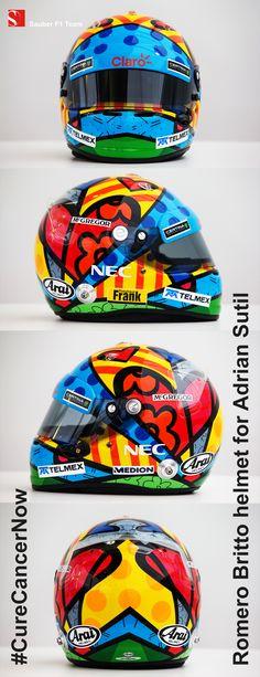 Racing for a good cause: Adrian's #RomeroBritto helmet for the #MonacoGP - #CureCancerNow - #SauberF1Team #F1 #Formula1 #FormulaOne #motorsport