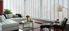 Hunter Douglas Skyline Panel Track Gliding Window Panels available at Sheila's Window Toppers. Hundreds of Roller fabrics at our Hunter Douglas showroom. Contemporary Windows, Window Styles, Home Decor, Window Coverings, Contemporary Window Treatments, Blinds, Modern Window Treatments, Large Window Treatments, Sliding Panels