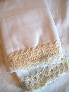 Vintage Crocheted Pillow Cases by jclairep on Etsy, $16.00
