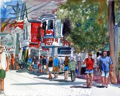 This watercolor painting depicts the charming beach town of Provincetown in Cape Cod, Massachusetts. Whether you go to Ptwon directly or visit it as part of your routine visit to another beach town on Cape Cod, you will be familiar with the sunny street scene of Commercial Street. This abstract art pictures happy strolling people in front of shops in the watercolor landscape. offered on imagekind by Miriam Schulman aka mimistudio or schulmanArt