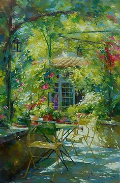 Johan Messely///A sunny scene, but I see an element of mystery to it. Maybe it's the fact that there are no people in it. Note by Roger Carrier
